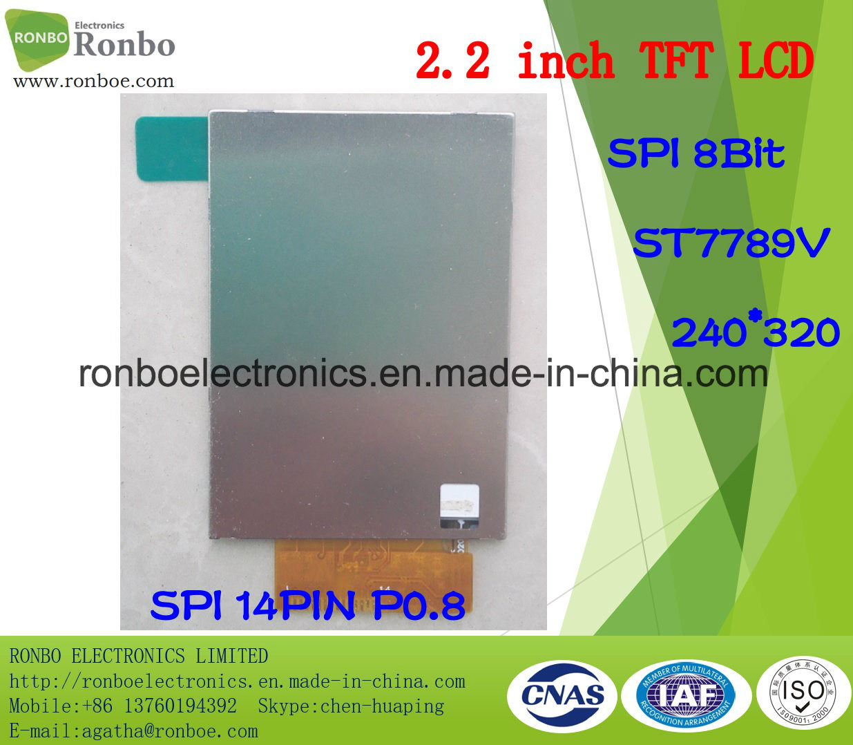 "2.2"" 240X320 Spi 14pin TFT LCD Display, St7789V for POS, Doorbell, Medical"