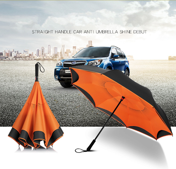 Dual Purpose Umbrella for Double Purpose Business Car with Reverse Personality and Straight Long Handle for Creative Automobile