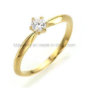 Diamond Ring 925 Silver Jewelry 4mm CZ Six Prongs Ring (R1911)