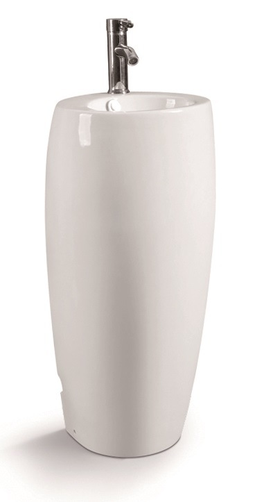 G008 Circle One Piece Ceramic Pedestal Basin