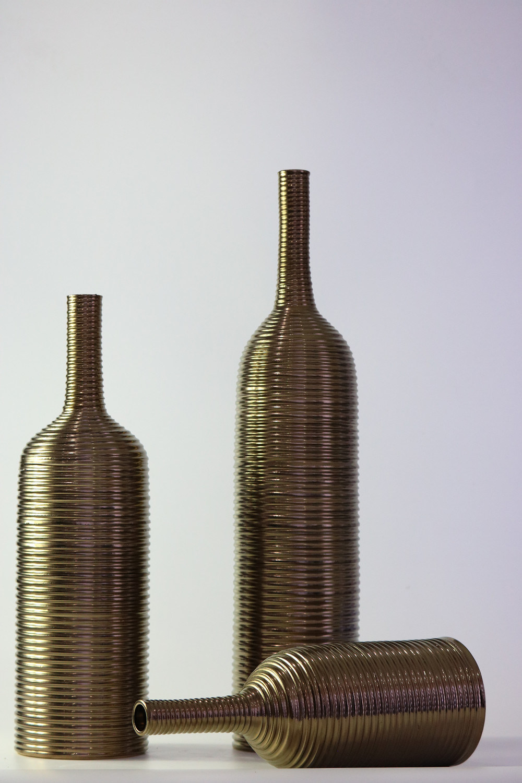 Gold Glaze Ring Handmade Ceramic Ornaments Vase