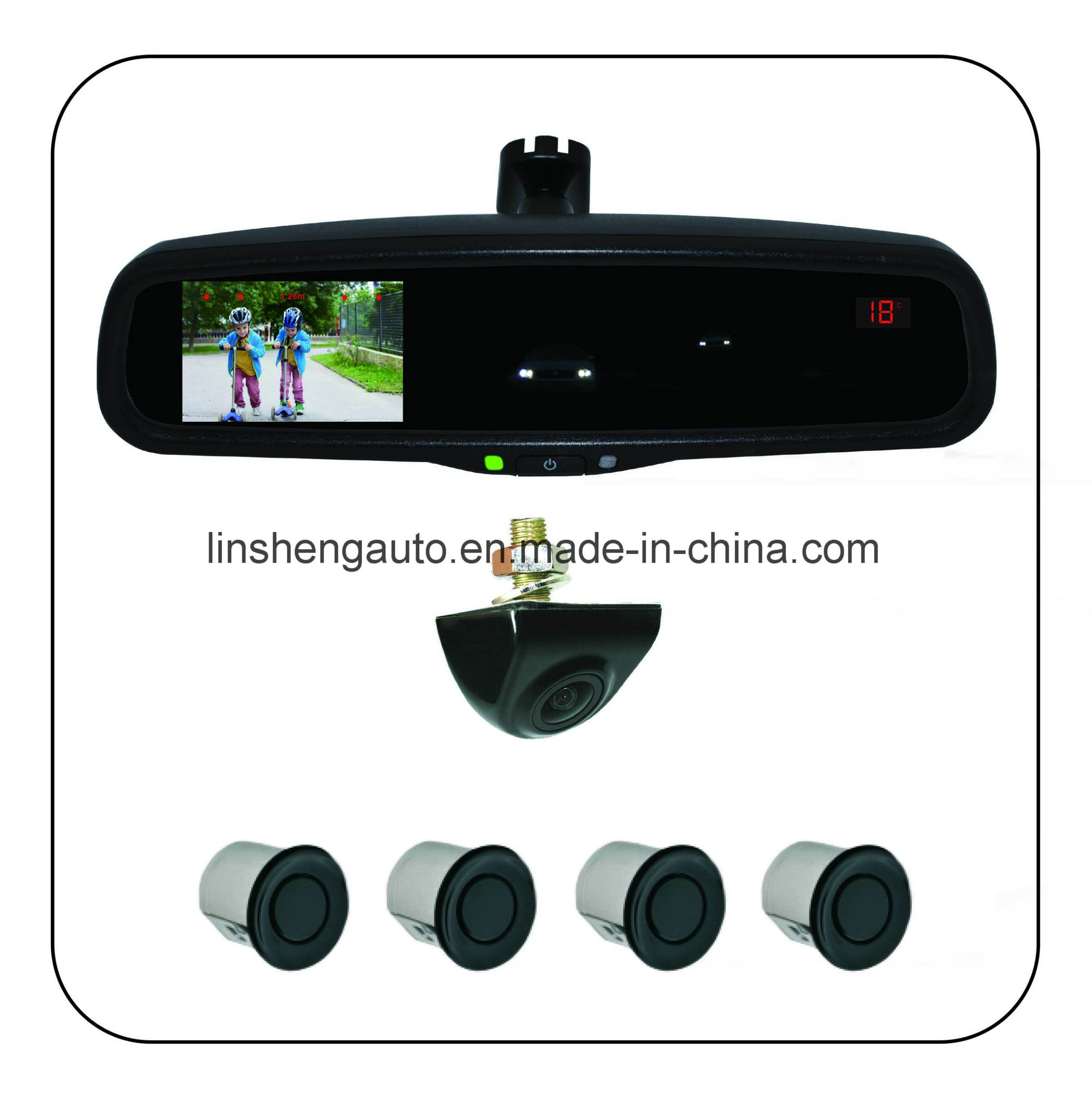 """Rearview Mirror with 4.3"""" Auto-Dimming LCD Monitor, Distance and Compass Display"""
