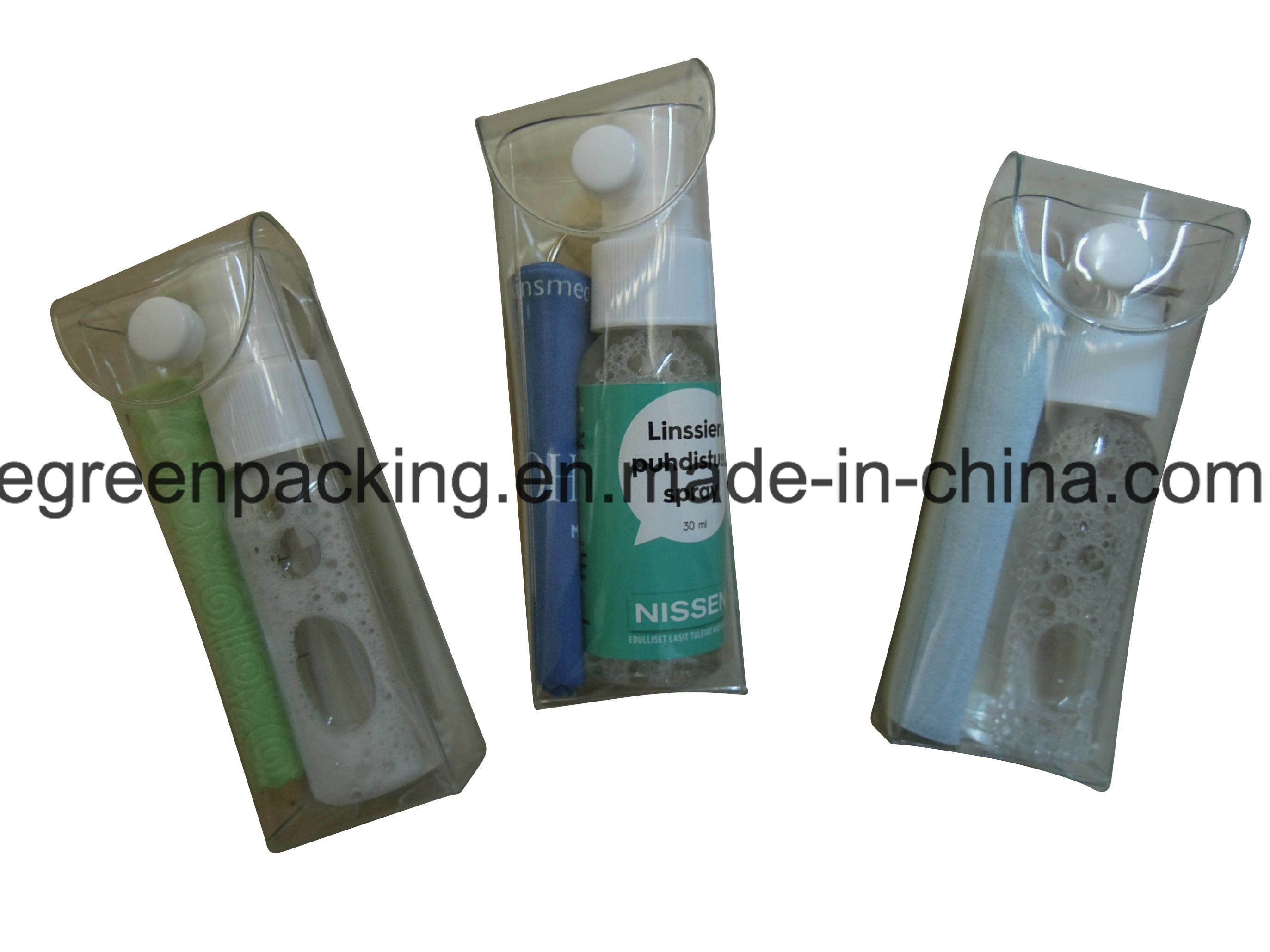 Pet Bottle Lens Spray/Microfiber Cloth/Screw Driver Packing in PVC Pouch