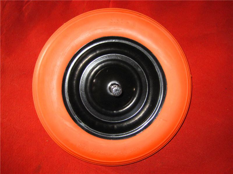 China Supplier Steel Rim Yellow PU Foam Wheel 3.50-8