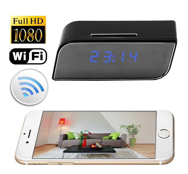 Night Vision 1080P Wireless Network Portable Motion Detector WiFi Table Clock Camera