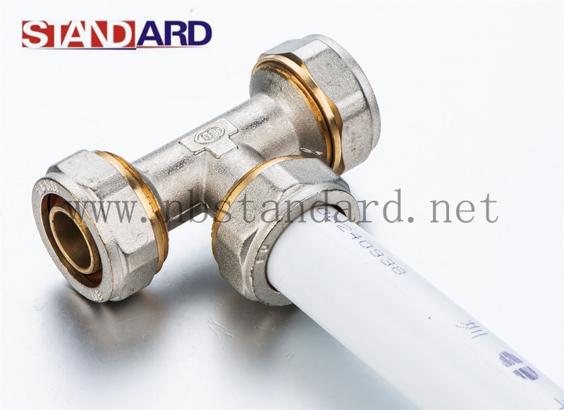 Brass Compression Fittings Tee with Nut