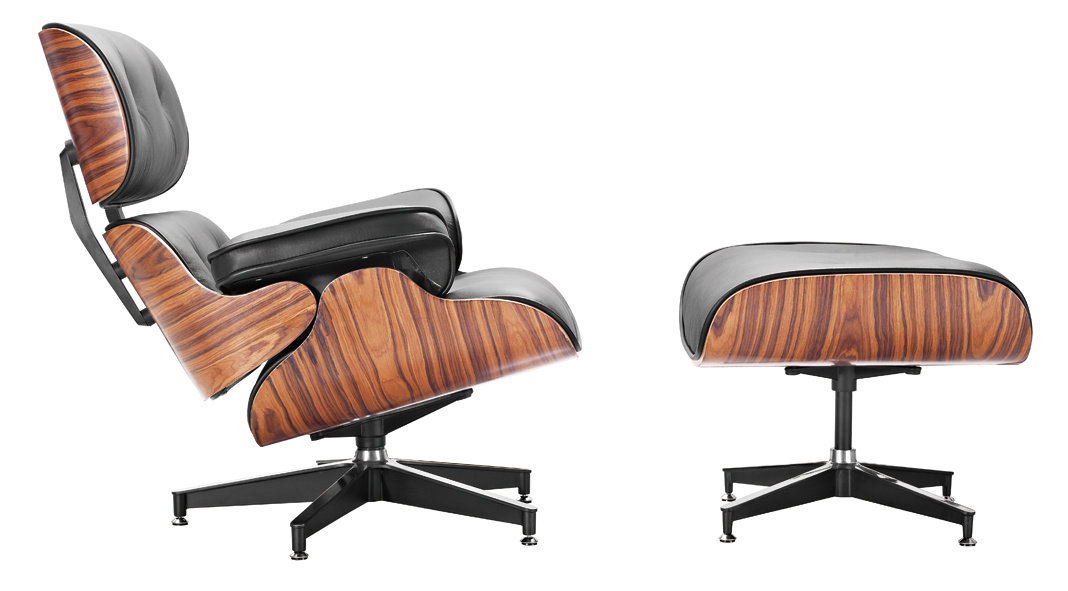 Eames Hotel Leather Wooden Leisure Lounge Recliner Chair (F5D-1)