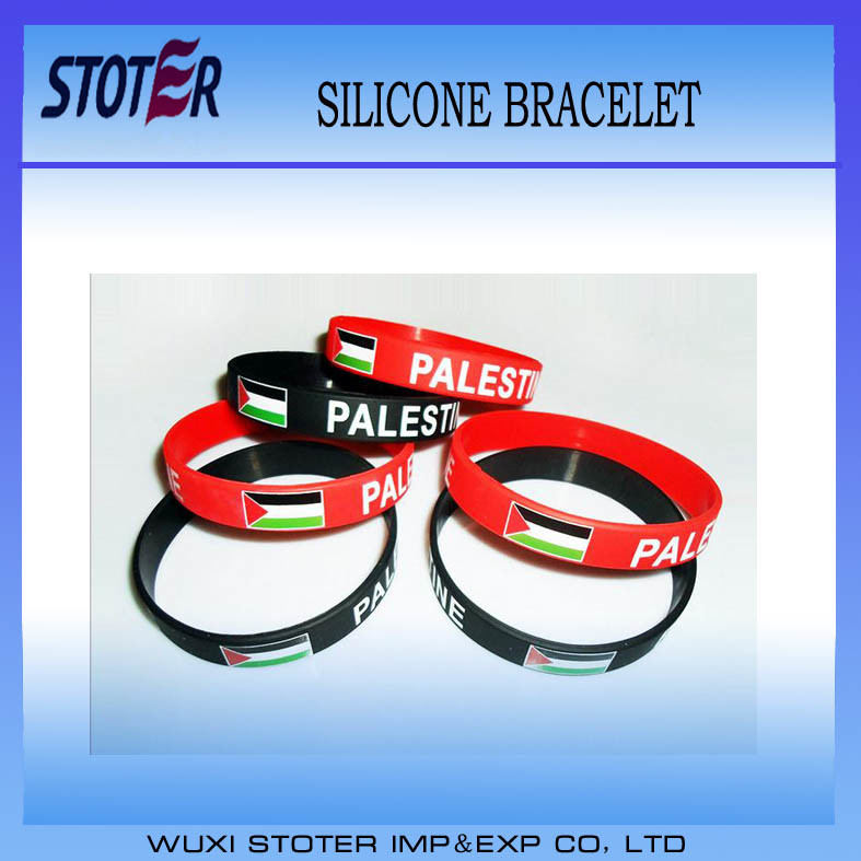 Cheap Palestine Country Flag Silicone Wristband