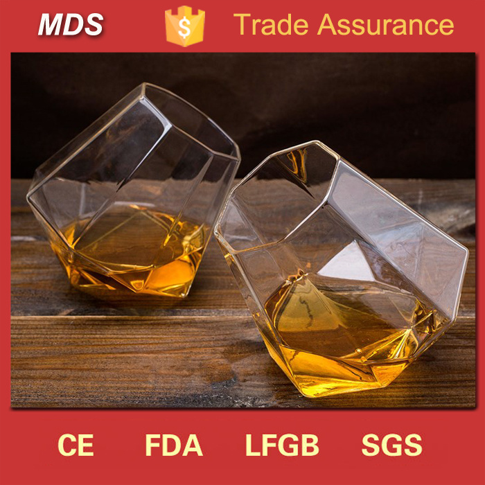 Diamond Shaped Slanted-Bottom Whisky Glass