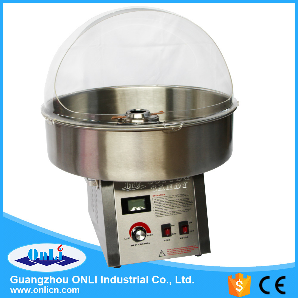 Professional Digital Stainless Steel Cotton Candy Floss Machine with Cover