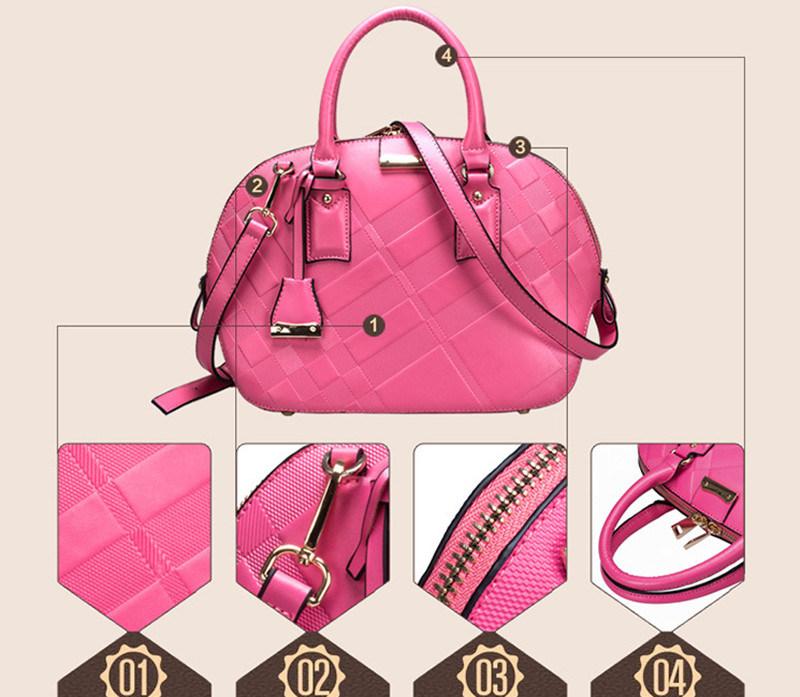 Newest Fashion Brand High Quality Cowhide Shell Package Wholesale Lady′s Handbag