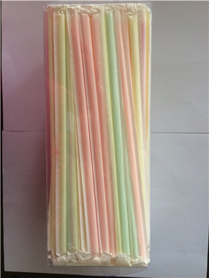 Colorful Paper Wrapped Straight Plastic Drinking Straw