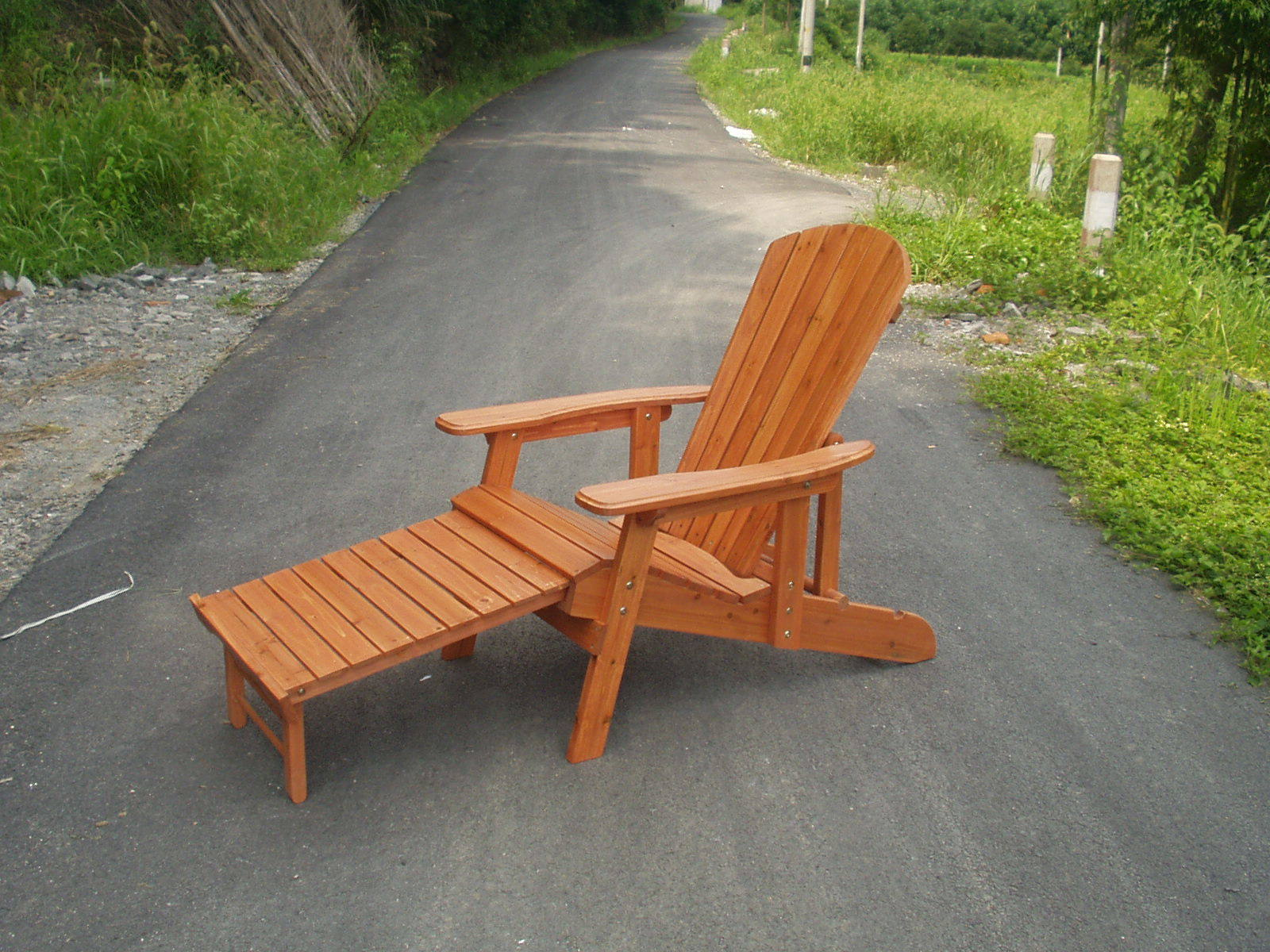 International Outdoor Adirondack Chair Recliners with Footrest Brown