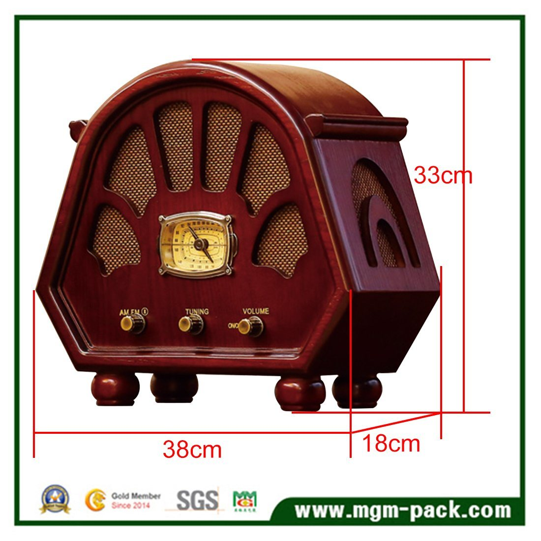 Vintage Custom Made Wooden Radio with Bluetooth