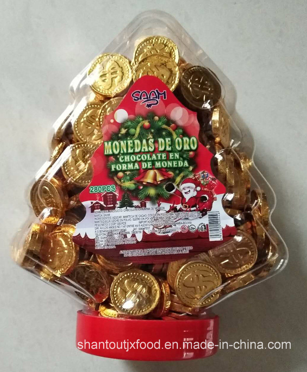 Christmas Tree Bottle 2.2g Chocolate Coin 280 PCS