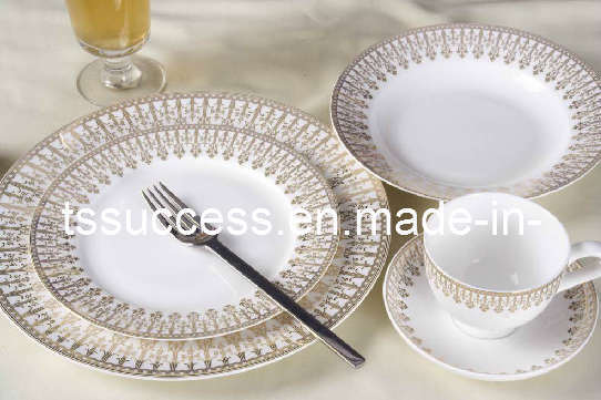 fine bone china 20pc dinner set with fashion gold design bone china