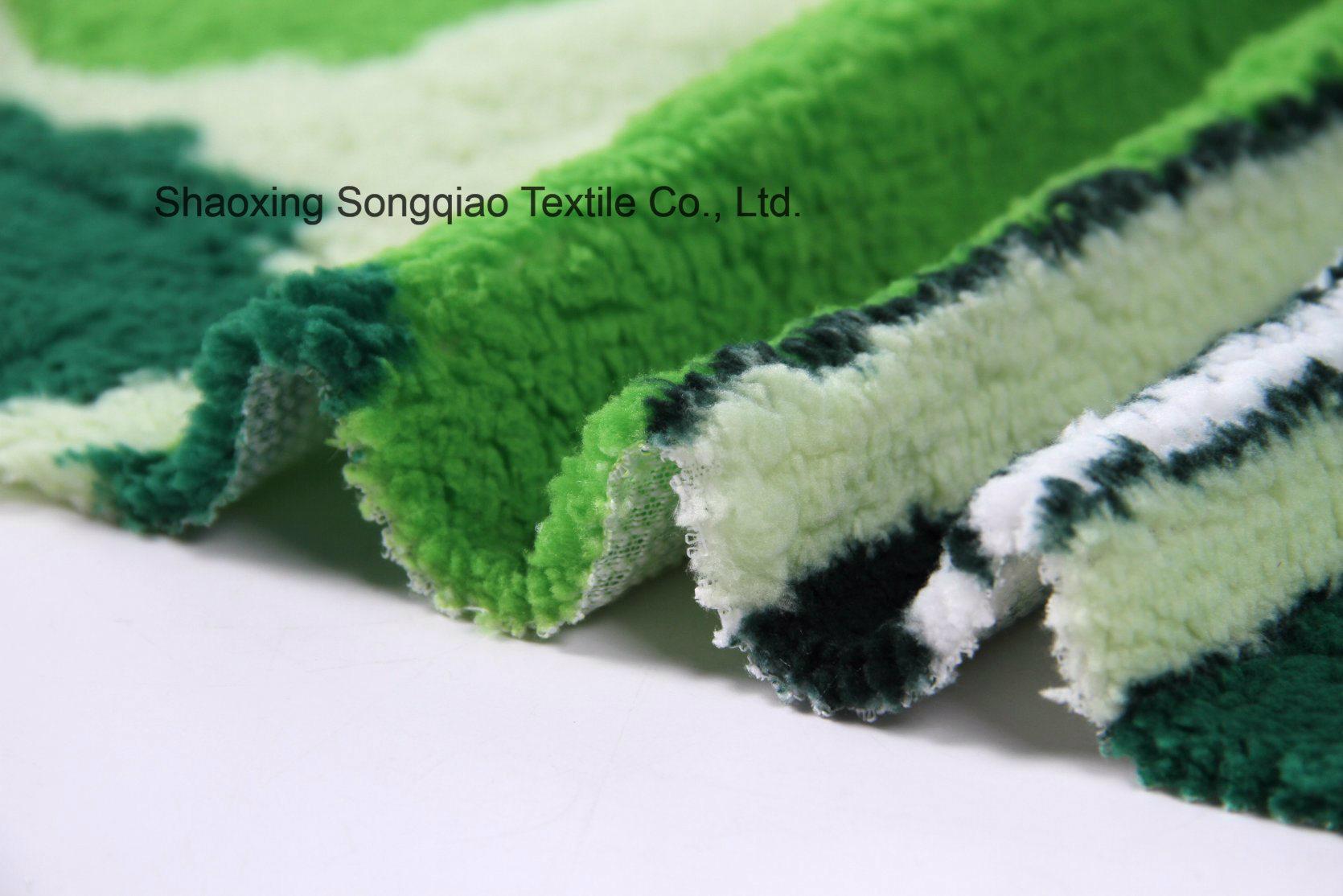 Print Polyester Shu Velveteen Fleece Fabric-16728-4 1#