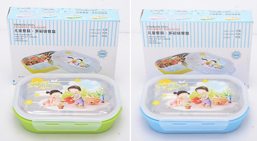 304/18-8 Stainless Steel Divided Tray Lunchbox for Kids