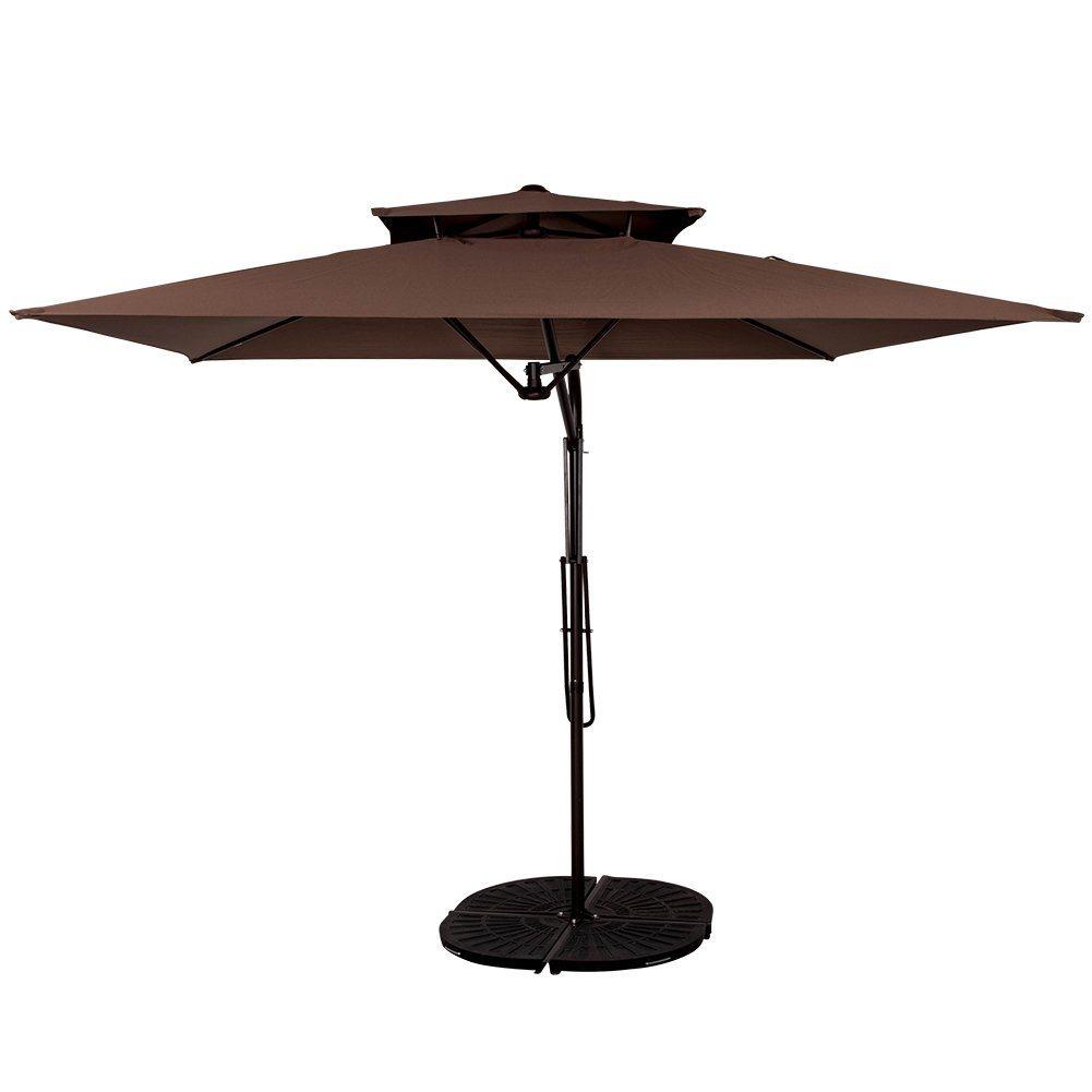 Garden 8.2X8.2 FT Rectangular Offset Umbrella with Hand Push, 4 Steel Ribs (Coffee)