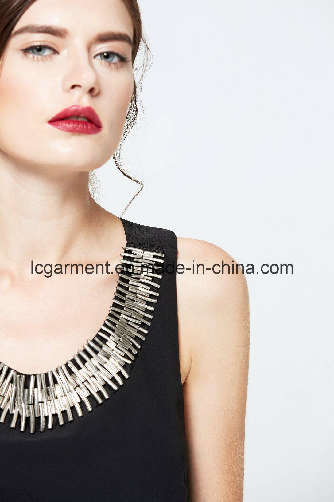 Black Chiffon Woman Dress Sleeveless Halter Neck Backless Maxi Latest Dress