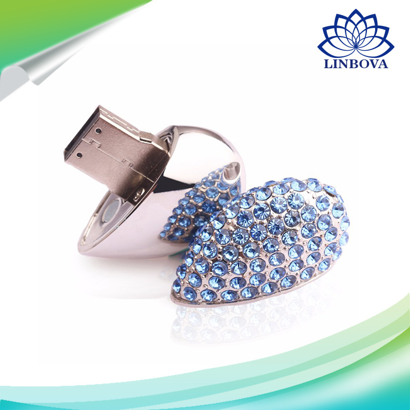 Metal Crystal Heart Jewelry USB Flash Drive Memory Stick 1GB 2GB 4GB 8GB 16GB 32GB 64GB USB Storage