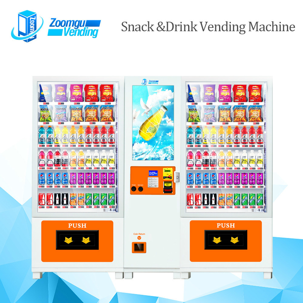 Double Cabinets Vending Machine with Conveyor Belt for Cold Drink & Snack 10L+10rss (32sp)
