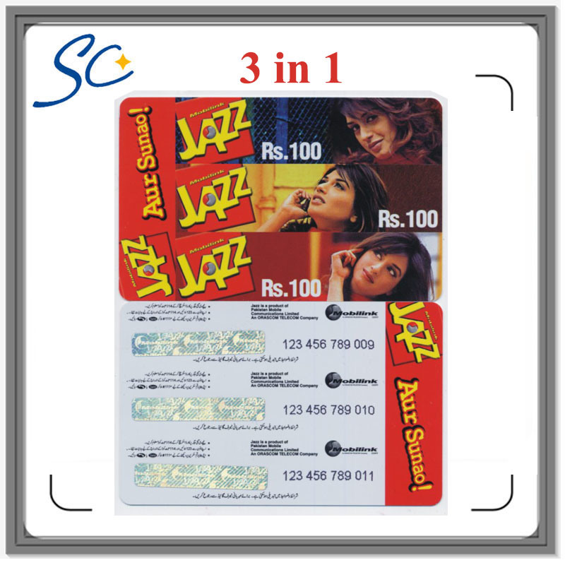 Free Sample Paper Custom Prepaid Scratch Card with 3in1/4in1/5in1