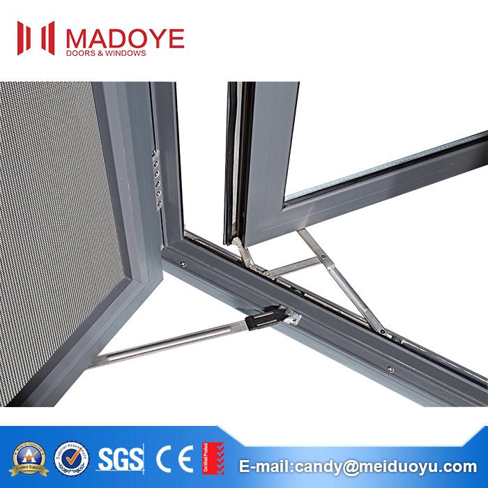 Australia Double Tempered Glass Aluminum Window with Mesh