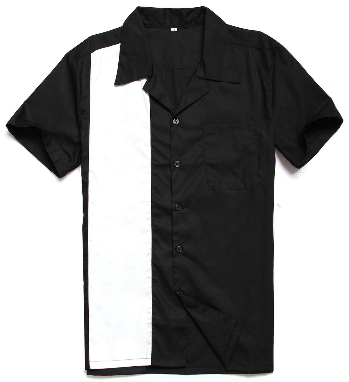 Men UK Design Button up Rockabilly 50s Vintage Bowling Shirts