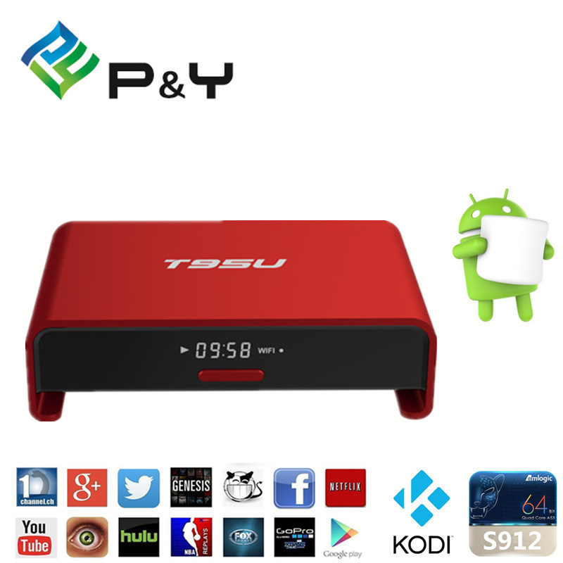 2016 Beautiful Design! Pendoo T95u PRO Amlogic S912 Android 6.0 TV Box Octa Core 2g RAM 16GB ROM Kodi 17.0 Pre-Installed