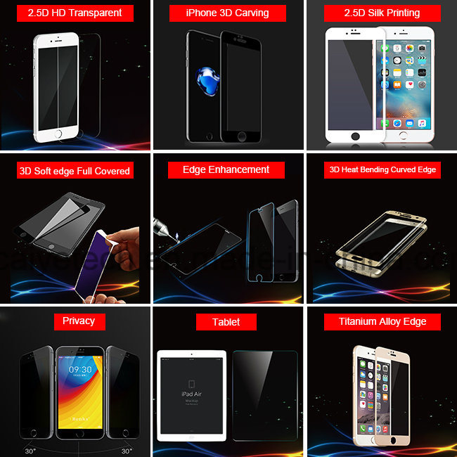 Mobile Accessories Titanium Alloy Edge Tempered Glass Screen Protector for iPhone 7/7 Plus