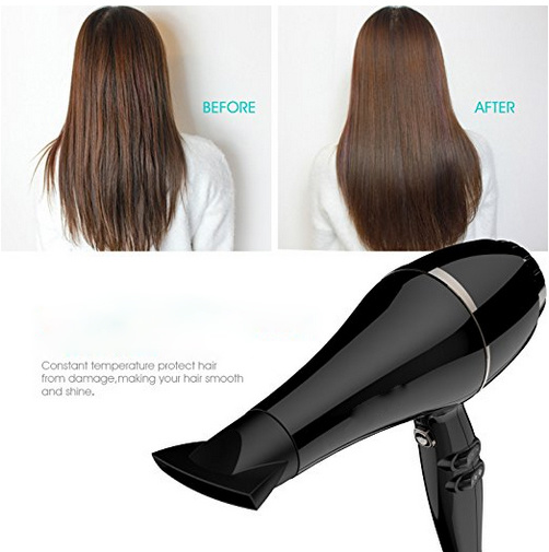Shine Injection Black Professional Long Life Hot Styling Tools 2300W Powerful Hair Dryer with Negative Ion Generator