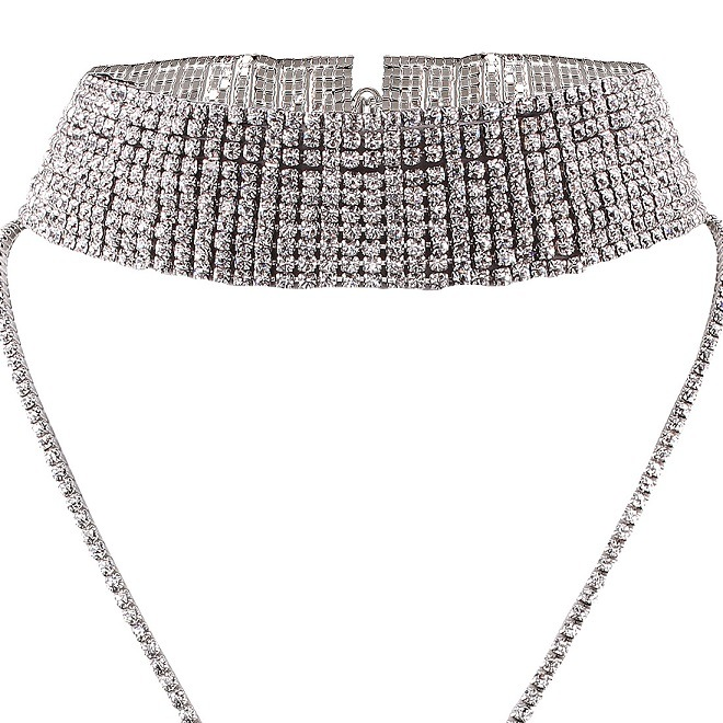 Fashion Luxury Glittering Full Rhinestone Multi Layer Diamond Choker Necklace Jewelry