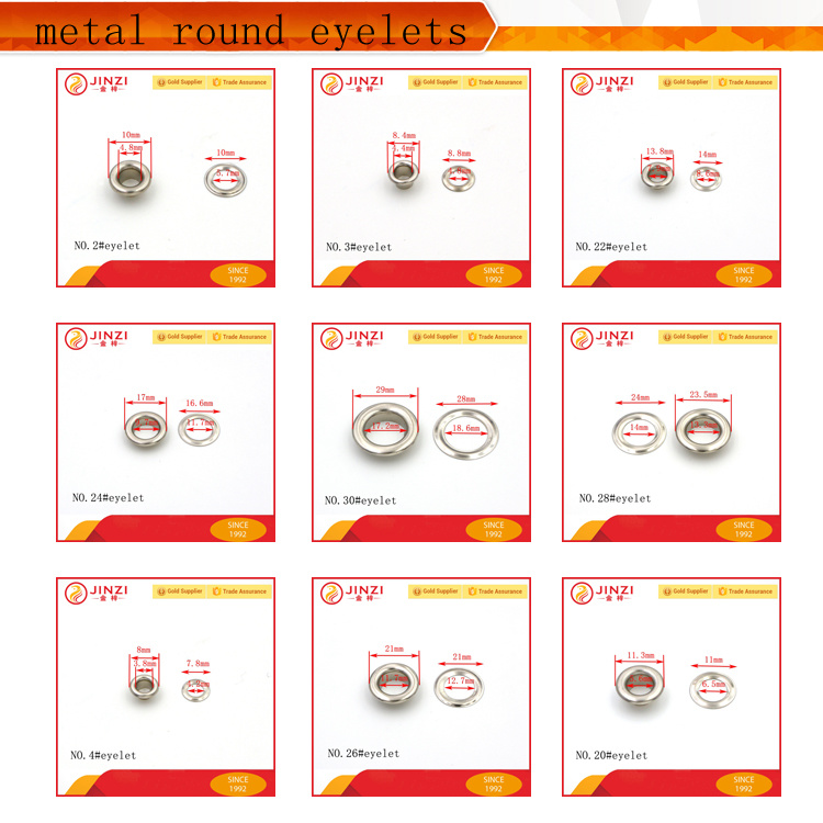 Popular Different Size Metal Eyelet for Bags, Shoes, Leather Gloves