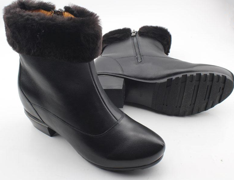 Black Women Boots Flat Boots with Fur Inside