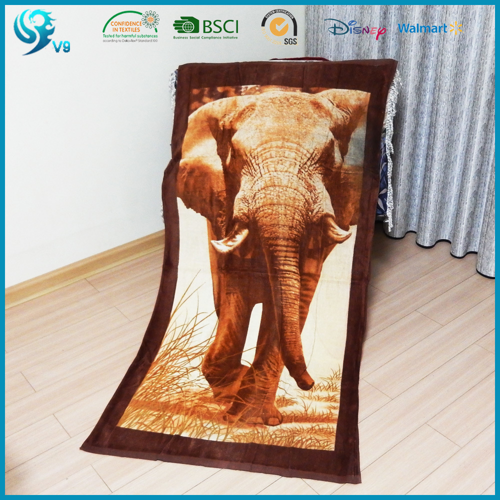 100% Cotton Velour Reactive Pdye Custom Design Animal Printed Towel