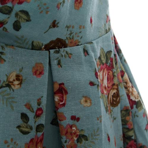 Cotton Linen V Collar Floral Blue Boho Dresses