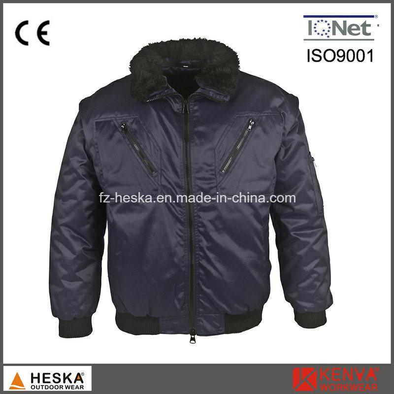 Mens 3 in 1 Detachable Sleeve Workwear Pilot Jacket Winter Bomber Jacket
