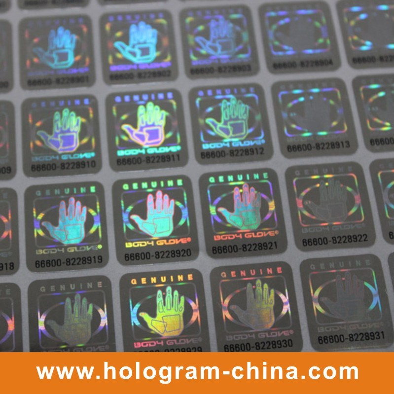 Black Serial Number Laser Holographic Sticker