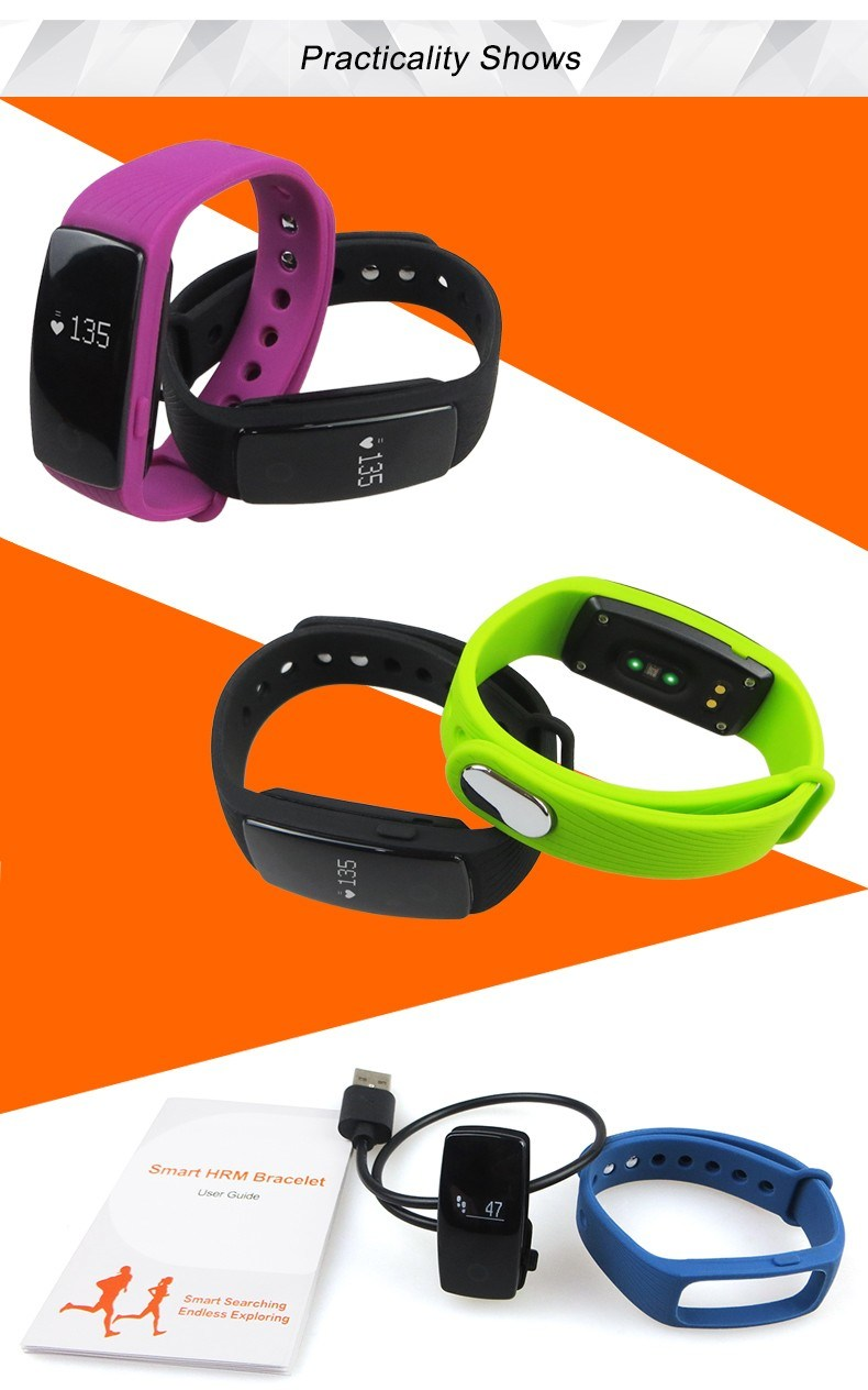 2016 High Quality Bluetooth Heart Rate Fitness Sleep Tracker Health Bracelet Smart Watch ID107