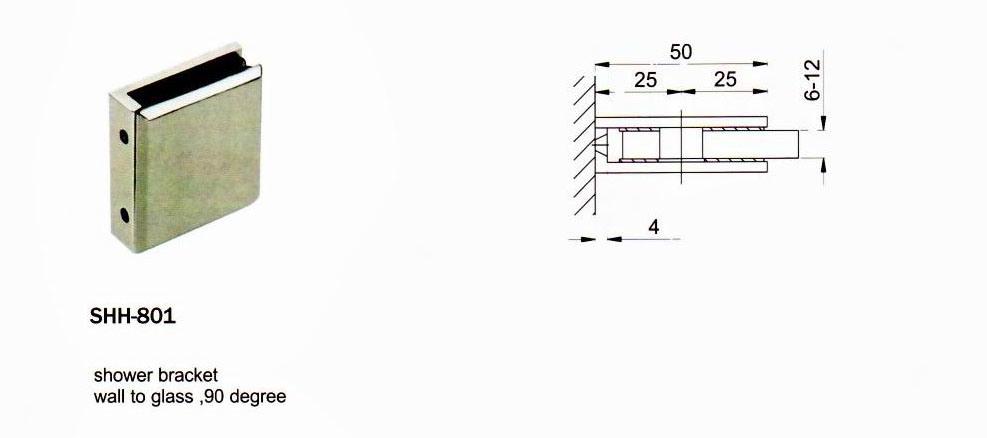 Shh-801 Stainless Steel Furniture Hardware Shower Hinge