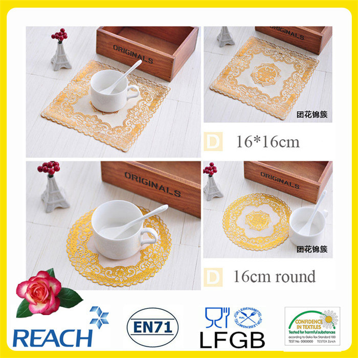 PVC Lace Placemat with Gold Coated (JFCD-034)