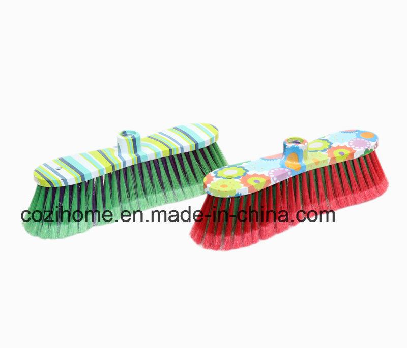 Long Handle Plastic Broom with Printing (3508)