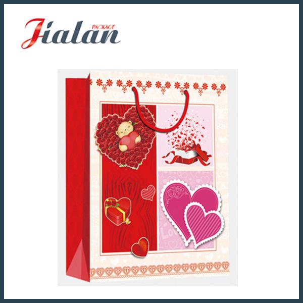 Custom Made Glossy Lamination Valentine′s Day Gift Paper Bag