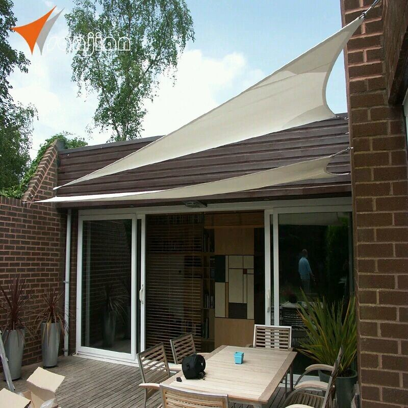 3*3*3m Beige Color Waterproof Polyester Fabric Garden Sun Shade Sail (Experienced Manufacturer)