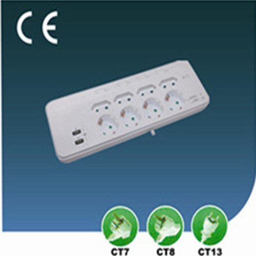 Eight Ways EU Socket with USB Overload Protection Independent Switch Lightning Protection
