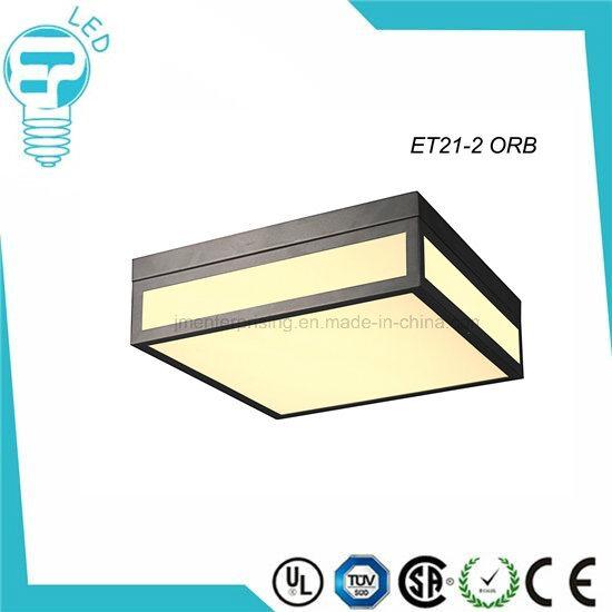Et21 Dark Grey Square Glass Ceiling Light LED Lamp