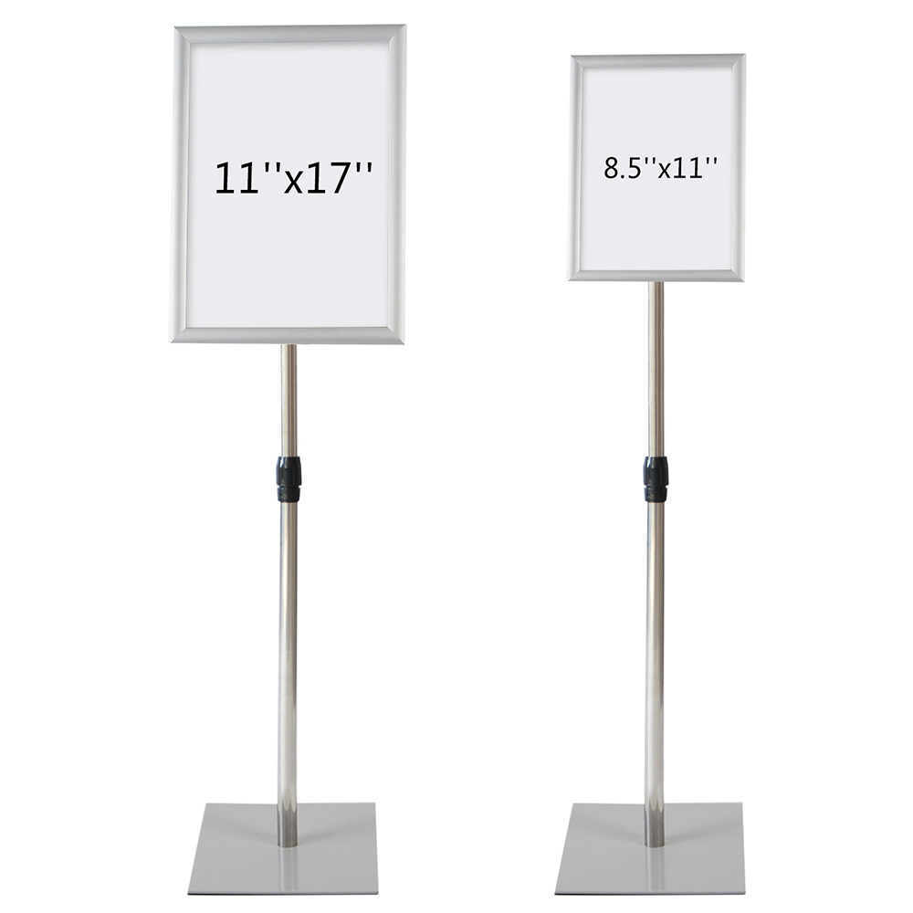 Adjustable Pedestal Poster Stand Aluminum Snap Open Frame Floor Stand 8.5X11 Graphic