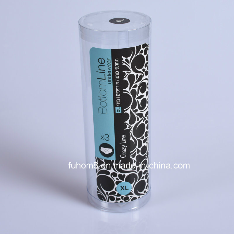 Clear PP/PVC/Pet Plastic Cylinder Packaging Box for Garment Underwear