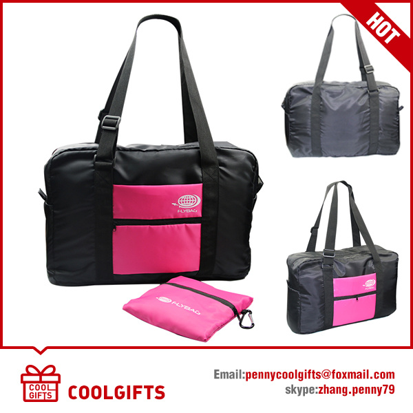 230t PU Polyester Folding Pocket Bag with Carabiner for Travel